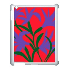 Purple Flower Red Background Apple Ipad 3/4 Case (white) by Mariart