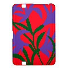 Purple Flower Red Background Kindle Fire HD 8.9  by Mariart