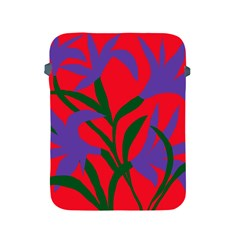 Purple Flower Red Background Apple Ipad 2/3/4 Protective Soft Cases by Mariart