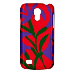 Purple Flower Red Background Galaxy S4 Mini by Mariart