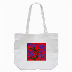 Purple Flower Red Background Tote Bag (white) by Mariart