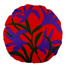 Purple Flower Red Background Large 18  Premium Flano Round Cushions by Mariart