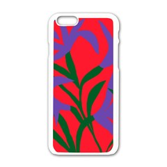 Purple Flower Red Background Apple Iphone 6/6s White Enamel Case by Mariart