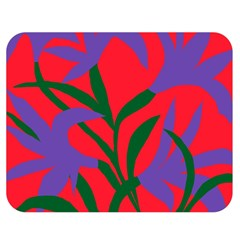 Purple Flower Red Background Double Sided Flano Blanket (medium)  by Mariart