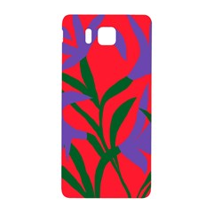 Purple Flower Red Background Samsung Galaxy Alpha Hardshell Back Case by Mariart