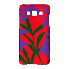 Purple Flower Red Background Samsung Galaxy A5 Hardshell Case  by Mariart