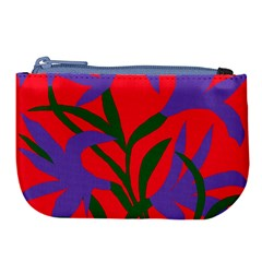 Purple Flower Red Background Large Coin Purse by Mariart