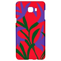 Purple Flower Red Background Samsung C9 Pro Hardshell Case  by Mariart
