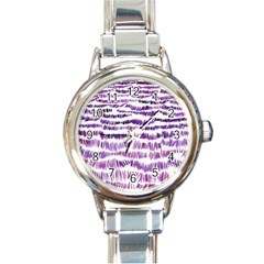 Original Feather Opaque Color Purple Round Italian Charm Watch by Mariart