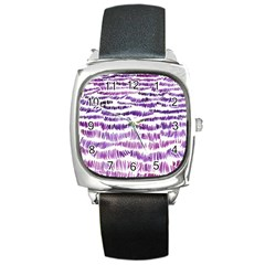 Original Feather Opaque Color Purple Square Metal Watch by Mariart