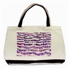 Original Feather Opaque Color Purple Basic Tote Bag (two Sides) by Mariart