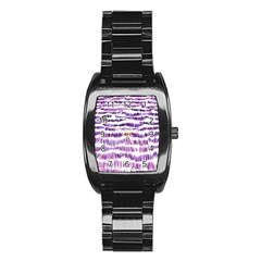 Original Feather Opaque Color Purple Stainless Steel Barrel Watch by Mariart