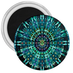 Peacock Throne Flower Green Tie Dye Kaleidoscope Opaque Color 3  Magnets by Mariart