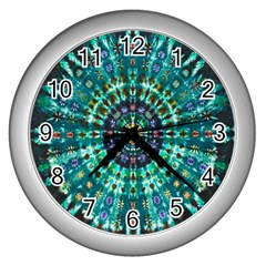 Peacock Throne Flower Green Tie Dye Kaleidoscope Opaque Color Wall Clocks (silver)  by Mariart