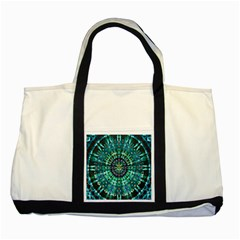 Peacock Throne Flower Green Tie Dye Kaleidoscope Opaque Color Two Tone Tote Bag by Mariart