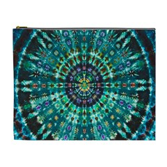 Peacock Throne Flower Green Tie Dye Kaleidoscope Opaque Color Cosmetic Bag (xl) by Mariart