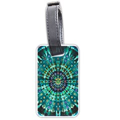 Peacock Throne Flower Green Tie Dye Kaleidoscope Opaque Color Luggage Tags (two Sides) by Mariart