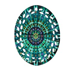 Peacock Throne Flower Green Tie Dye Kaleidoscope Opaque Color Oval Filigree Ornament (two Sides) by Mariart