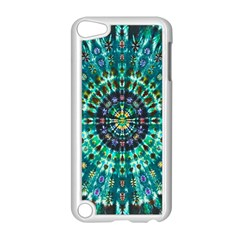 Peacock Throne Flower Green Tie Dye Kaleidoscope Opaque Color Apple Ipod Touch 5 Case (white) by Mariart