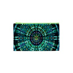 Peacock Throne Flower Green Tie Dye Kaleidoscope Opaque Color Cosmetic Bag (xs) by Mariart