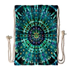 Peacock Throne Flower Green Tie Dye Kaleidoscope Opaque Color Drawstring Bag (large) by Mariart
