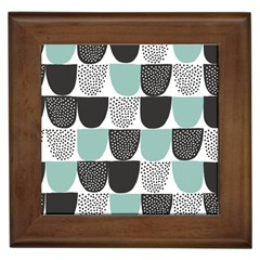 Sugar Blue Fabric Polka Dots Circle Framed Tiles by Mariart