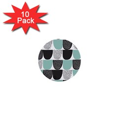 Sugar Blue Fabric Polka Dots Circle 1  Mini Buttons (10 Pack)  by Mariart