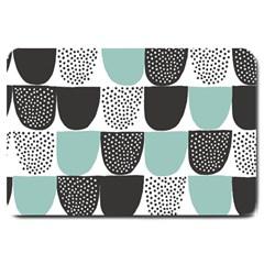 Sugar Blue Fabric Polka Dots Circle Large Doormat  by Mariart