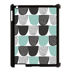 Sugar Blue Fabric Polka Dots Circle Apple Ipad 3/4 Case (black) by Mariart