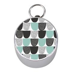 Sugar Blue Fabric Polka Dots Circle Mini Silver Compasses by Mariart