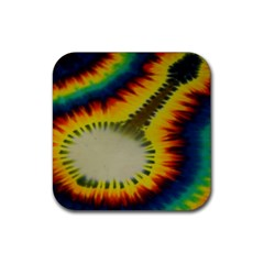 Red Blue Yellow Green Medium Rainbow Tie Dye Kaleidoscope Opaque Color Rubber Square Coaster (4 Pack)  by Mariart