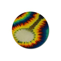 Red Blue Yellow Green Medium Rainbow Tie Dye Kaleidoscope Opaque Color Magnet 3  (round) by Mariart