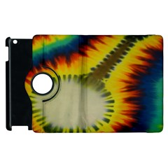 Red Blue Yellow Green Medium Rainbow Tie Dye Kaleidoscope Opaque Color Apple Ipad 2 Flip 360 Case by Mariart