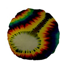 Red Blue Yellow Green Medium Rainbow Tie Dye Kaleidoscope Opaque Color Standard 15  Premium Flano Round Cushions by Mariart