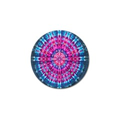 Red Blue Tie Dye Kaleidoscope Opaque Color Circle Golf Ball Marker (4 Pack) by Mariart