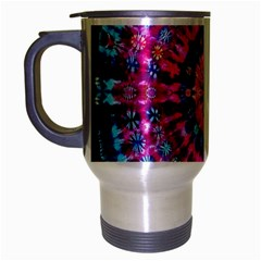 Red Blue Tie Dye Kaleidoscope Opaque Color Circle Travel Mug (silver Gray) by Mariart