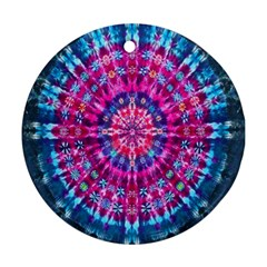 Red Blue Tie Dye Kaleidoscope Opaque Color Circle Round Ornament (two Sides) by Mariart