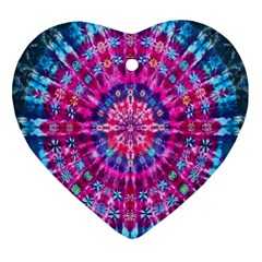 Red Blue Tie Dye Kaleidoscope Opaque Color Circle Heart Ornament (two Sides) by Mariart