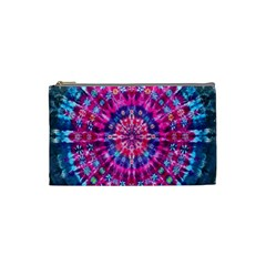 Red Blue Tie Dye Kaleidoscope Opaque Color Circle Cosmetic Bag (small)  by Mariart