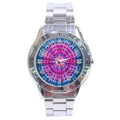 Red Blue Tie Dye Kaleidoscope Opaque Color Circle Stainless Steel Analogue Watch by Mariart