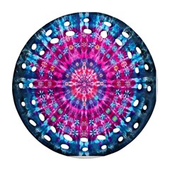 Red Blue Tie Dye Kaleidoscope Opaque Color Circle Ornament (round Filigree) by Mariart