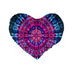 Red Blue Tie Dye Kaleidoscope Opaque Color Circle Standard 16  Premium Flano Heart Shape Cushions by Mariart