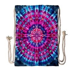 Red Blue Tie Dye Kaleidoscope Opaque Color Circle Drawstring Bag (large) by Mariart