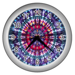 Red Purple Tie Dye Kaleidoscope Opaque Color Wall Clocks (silver)  by Mariart