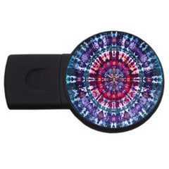 Red Purple Tie Dye Kaleidoscope Opaque Color Usb Flash Drive Round (4 Gb) by Mariart