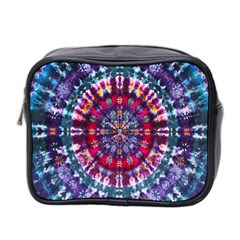 Red Purple Tie Dye Kaleidoscope Opaque Color Mini Toiletries Bag 2 Side by Mariart