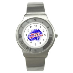 Happy Bastille Day Graphic Logo Stainless Steel Watch by dflcprints