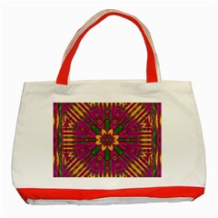 Feather Stars Mandala Pop Art Classic Tote Bag (red) by pepitasart
