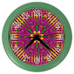 Feather Stars Mandala Pop Art Color Wall Clocks by pepitasart