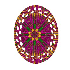 Feather Stars Mandala Pop Art Oval Filigree Ornament (two Sides) by pepitasart